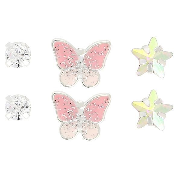 Ohrstecker-Set - Pink Butterfly
