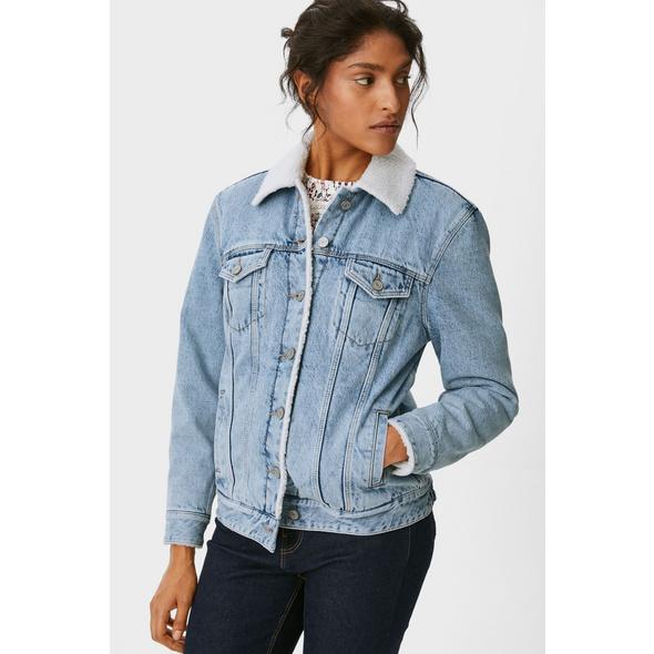 Jeansjacke mit Kunstfellbesatz - recycelt